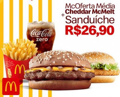 McOferta Média: Combo Cheddar McMelt + Sanduíche por apenas R$ 26,90!