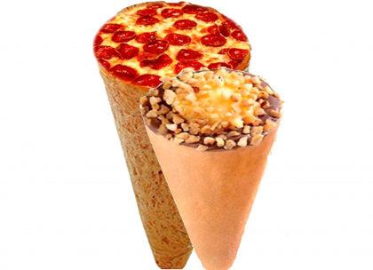 Pizza Cone Salgada + Pizza Cone Doce + Refrigerante por apenas R$ 30,00!