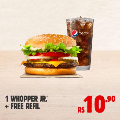 1 Whopper Jr. + Refrigerante Refil por apenas R$ 10,90!