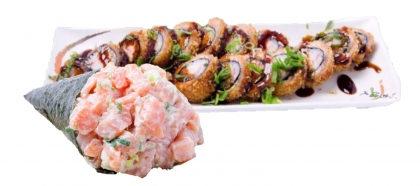 2 Temakis + Porção Hot Roll ou Uramaki de Salmão por apenas R$42,90!