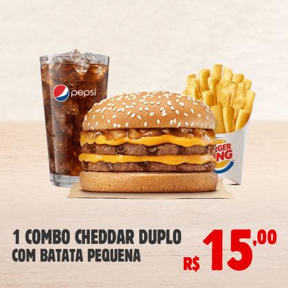 Combo Cheddar Duplo com Batata Pequena por apenas R$ 15,00!