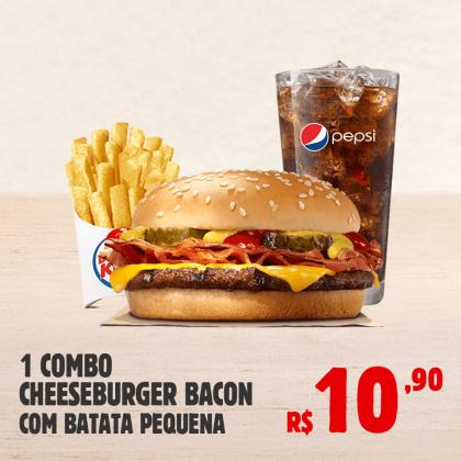 Combo Cheeseburger Bacon + Batata Frita pequena por apenas R$ 10,90!