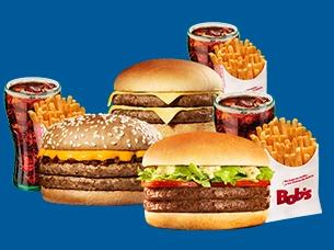 Trio Bob's Burger M + Trio Cheddar M + Trio Cheeseburger M por apenas R$ 46,00!
