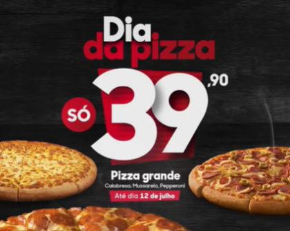 Dia da Pizza: Pizza Grande de Calabresa, Pepperoni ou Mussarela por R$39,90 + Entrega Grátis!