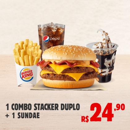1 Combo Stacker Duplo + 1 Sundae por apenas R$ 24,90!