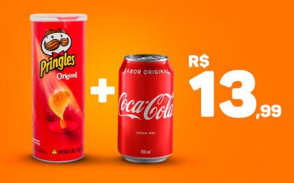 Batata Pringles + Coca-Cola lata por apenas R$ 13,99! (24h)