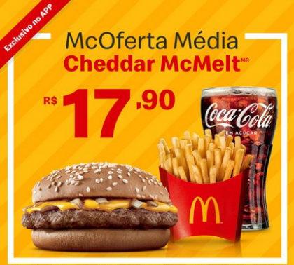 McOferta Média Cheddar McMelt por apenas R$ 17,90!