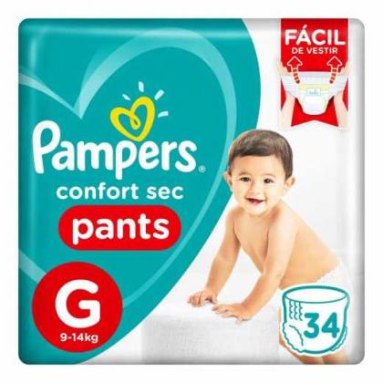 Fralda Pampers Confort Sec Pants Tamanho G 34 Tiras com 10% de desconto!