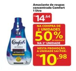 Amaciante de Roupas Concentrado Comfort 1L com 50% de desconto na 2° unidade!