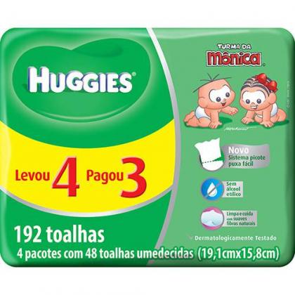 Toalhas Umedecidas 192 unidades Huggies Classic com 10% de desconto!
