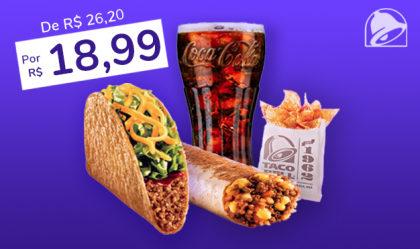 Cheesy Burrito Carne Moída + Crunchy Taco Carne Moída + Nachos + Refrigerante 400ml por R$18,99!