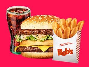 Big Bob Picanha Médio + Batata Canoa Média + Refrigerante refil por apenas R$ 22,50!