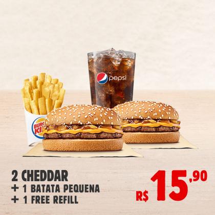 2 Cheddar + Batata Pequena + Refrigerante Refill por apenas R$ 15,90!