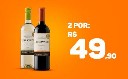 2 Vinhos Concha Y Toro Reservado por apenas R$ 49,90! (Chácara Flora)