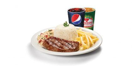 Picanha 180g + Arroz + Farofa + Fritas + Refrigerante 300ml por apenas R$24,90!
