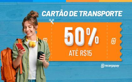 Cupom de 50% OFF (até R$15) em Recarga de Cartão Transporte para novos usuários!