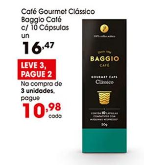 Café Gourmet Clássico Baggio Café (10 cápsulas) por apenas R$ 10,98 na compra de 3 unidades!