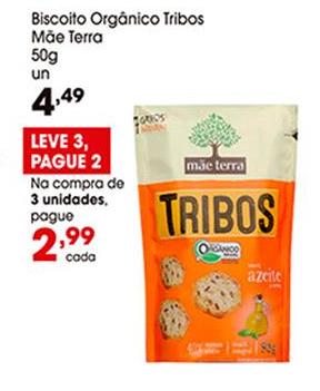 Biscoito Orgânico Tribos Mãe Terra 50g por apenas R$ 2,99 na compra de 3 unidades!