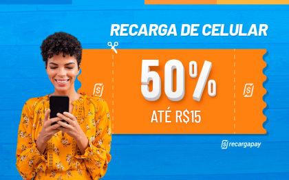 Cupom de 50% OFF (até R$ 15) em Recarga de Celular para novos usuários RecargaPay!