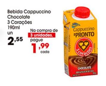 Bebida Capuccino Chocolate 3 Corações 190ml por apenas R$ 1,99 na compra de 3 unidades!