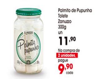 Palmito de Pupunha Tolete Zanuzzo 300g por openas R$9,90 na compra de 2 unidades!