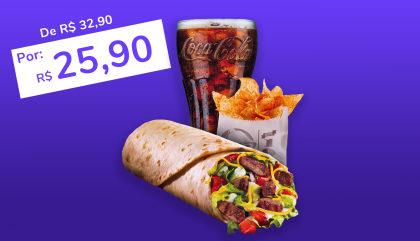 Power Burrito Tiras de Carne + Nachos + Refrigerante 400ml por apenas R$ 25,90!
