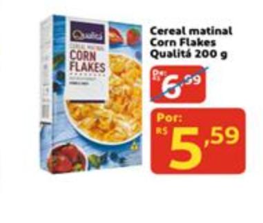 Cereal Matinal Corn Flakes Qualitá 200g por apenas R$ 5,59!