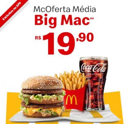 McOferta Média Big Mac por apenas R$ 19,90!