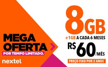 TEMPO LIMITADO: 8GB + 1GB GRÁTIS a cada 6 meses por R$60 mensais (preço fixo por 2 anos)
