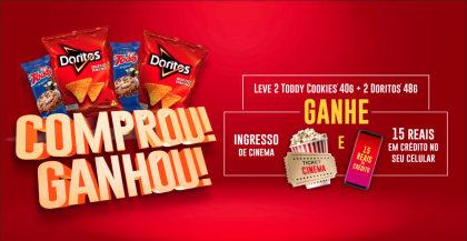 Veja como ganhar Ingresso de Cinema + Recarga de Celular com Toddy e Doritos