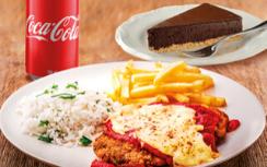 Parmegiana de Carne + Refrigerante Lata + Sobremesa por apenas R$ 34,90!