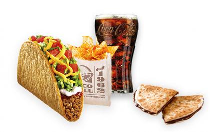 Crunchy Taco Supreme (carne moída ou feijão) + Nachos + Refri 400ml + Chocodilla de Ovomaltine por R$ 14,99!