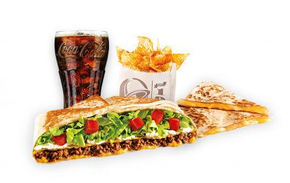 Crunchwrap Supreme (carne moída ou feijão) + Cheese Quesadilla + Nachos + Refri 400ml por apenas R$ 29,99!