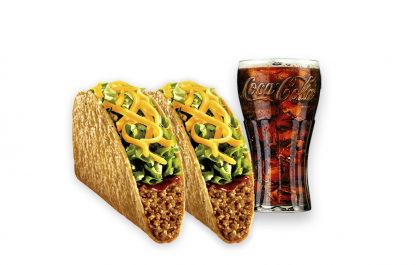 2 Crunchy Taco (carne moída ou feijão) + Refrigerante 400ml por apenas R$ 11,99!