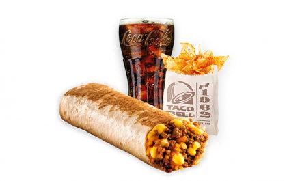 Cheesy Burrito (carne moída ou feijão) + Nachos + Refrigerante 400ml por apenas R$ 13,99!