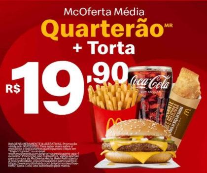 McOferta Média Quarterão + Torta por apenas R$ 19,90!