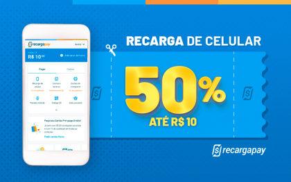 Cupom de 50% OFF (até R$ 10) em Recarga de Celular para novos usuários RecargaPay!