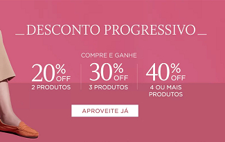 Confira o Desconto Progressivo de até 40% OFF no site da Shoestock
