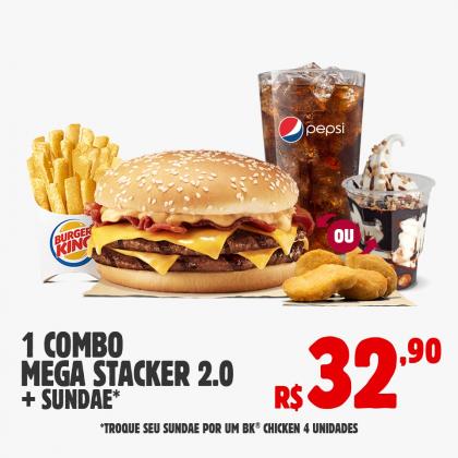Drive Thru: 1 Combo Mega Stacker 2.0 + 1 Sundae ou 4 BK Chicken por apenas R$ 32,90!