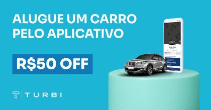 GANHE R$ 50 para alugar um carro por hora com a Turbi!