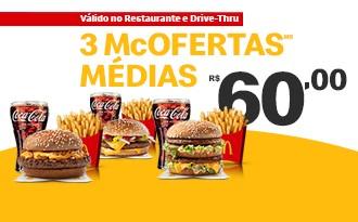3 Combos McOfertas Médias por apenas R$ 60!