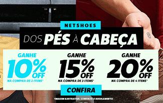 Desconto Progressivo com até 20% OFF em seleção Dos Pés à Cabeça no site da Netshoes