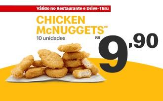 Chicken McNuggets 10 unidades por apenas R$ 9,90!
