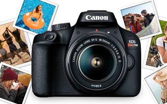 Dia Mundial da Fotografia: cupom Fast Shop de 10% OFF em Canon Rebel T100 DSLR no site